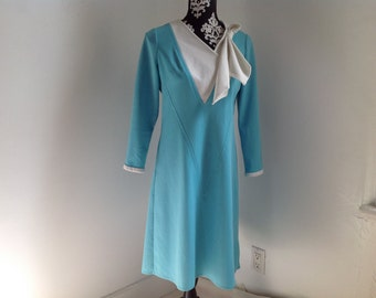 Turquoise Vintage Polyester Dress - 8
