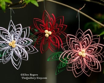 Set of 3 Handmade Red, White, and Pink Poinsettia Flowers Quilled Christmas Ornaments or Decorations