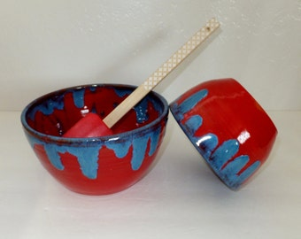 Red and Electric Blue Bowl Set, Ceramic Nesting Bowls