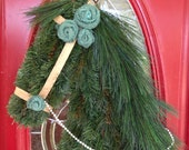 Horse Wreath with Turquoise Burlap