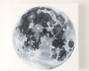 Original Acrylic Full Moon Painting / Black and White / Detailed / Art / Modern / Minimalistic / 12x12 Gallery Canvas / Hand-Painted
