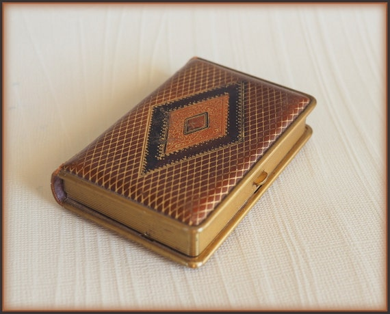 Antique 1920s Art Deco Mondaine Leather Book Compact Vintage