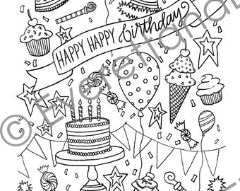 "Digital Download ""Happy, Happy Birthday!"" Coloring Page"