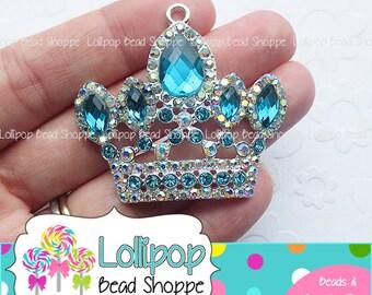50mm TURQUOISE CROWN Rhinestone Pendant Princess Pendant Chunky Necklace Pendant Blue Tiara Bubblegum Beads Bubble Gum Beads RP26