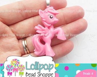 2 PINK PEGASUS Pendants Little Pony Pendants Flat Back Resin Horse Cabochon Acrylic Character Lil Pony Chunky Necklace Pendant FB30