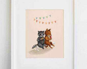 Raccoon and Fox Friends Print