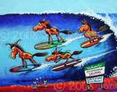 Horse Print, Wild Horses Surfing, Beach Art, Whimsical Ponies, Colts, Family Art, Children's art