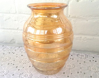 Hocking Glass Co Banded Rings Iridescent Vase