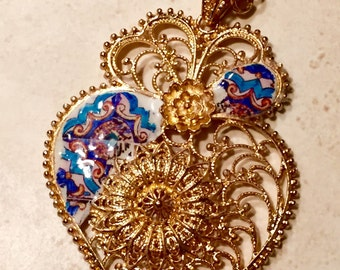 Beautiful Necklace, with filigree heart, and portuguese tiles replica