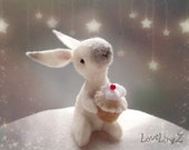 Bunny with cupcake, felt mini rabbit with cake, birthday -wedding -anniversary gift - Made To Order