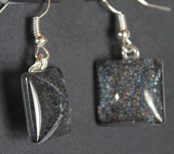 Black and Silver glitter earrings deep space galaxy Black Hole starry night dangle sparkly fishhook