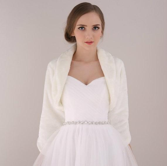 Items similar to bridal wedding faux fur sleeve jacket for Fur shrug for wedding dress