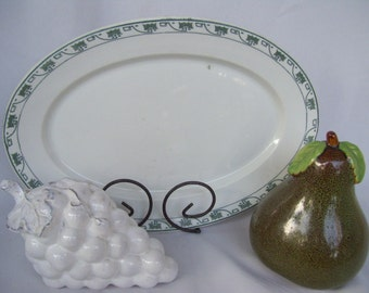 Vintage Syracuse White and Green Oval Platter