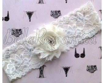 Wedding Garter - Shabby Chic - Lace Garter - Bridal Garter -  Black Garter