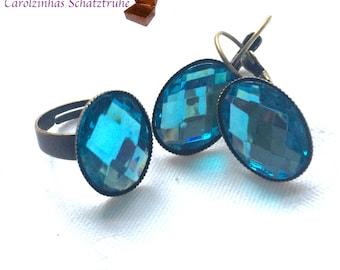 earrings + ring Heaven blue earrings