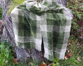Olive Handwoven Chenille Scarf for Men or Women