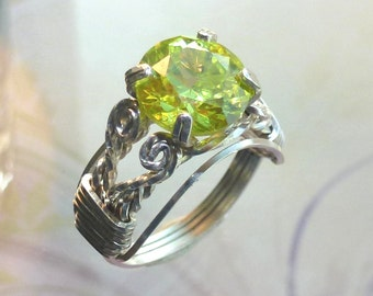 Green Peridot Ring Wire Wrapped Womans Jewelry Handmade in Silver with Free Shipping