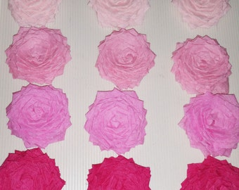 Handmade Set of Pink Rose Flowers - 4 Shades of Pink perfect for Valentines