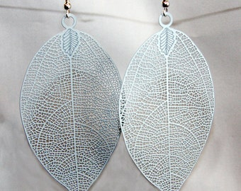 White Leaf Filigree Earrings, White Earrings, Leaf Earrings