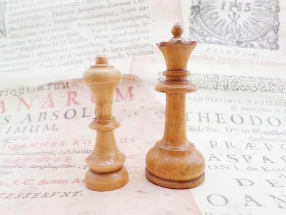 Wooden Chess Old Style 2 Pieces Collectible By Vintageartstuff