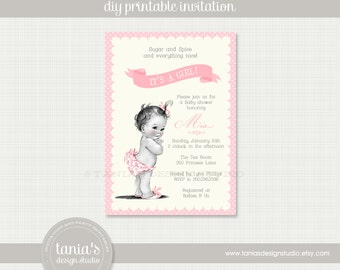 Vintage Baby Girl Shower Printable Invitation by tania's design studio