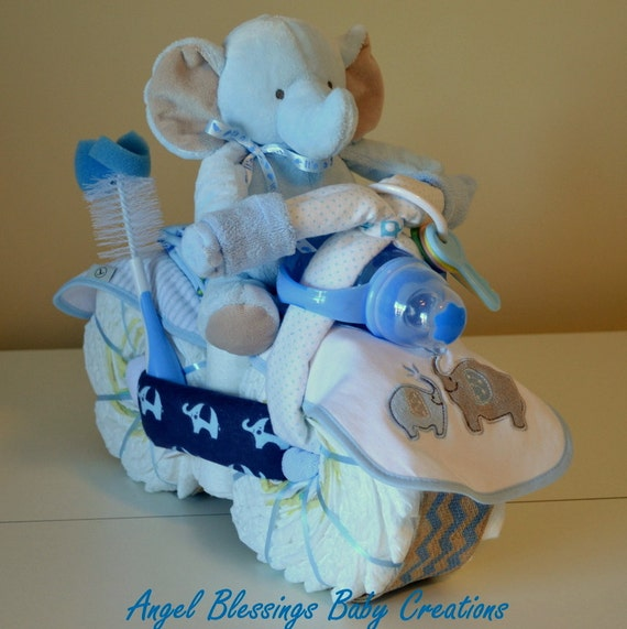 Motorcycle diaper cake baby shower centerpiece by angelblessings12 - Baby shower ideas for a boy centerpieces ...