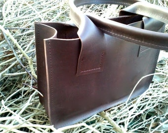 Handmade Shopper of Heavy cowhide leather-Handmade Leather Tote Bag-Leather Shopper