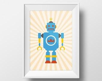 Digital Download Nursery Vintage Robot Retro Robot Art kids room, art for kids,  - 8x10 or 11x14