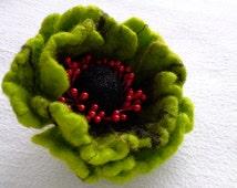 Felt Brooch  ,Wool Felt Jewelry, Green Flower, Felt Flower Pin, Green Pin, Wool Brooch, Gift for her, Handmade, Christmas for Her