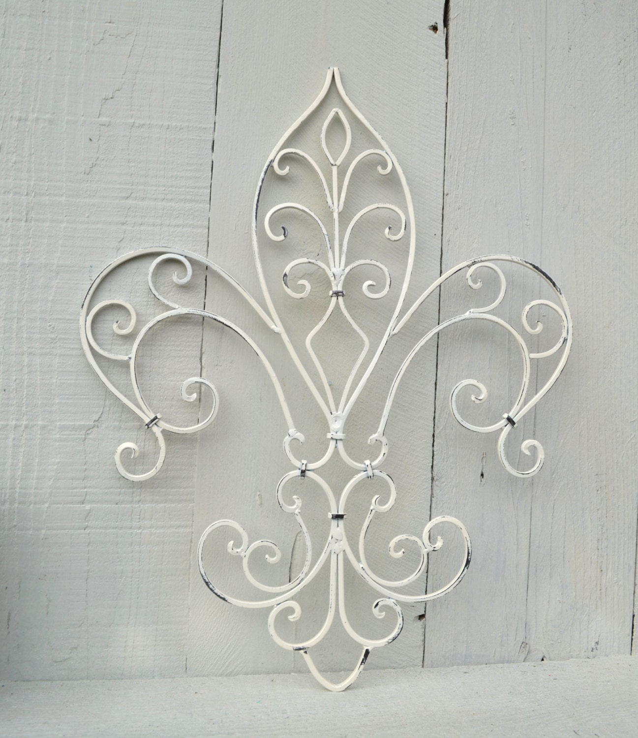 Fleur de lis shabby chic ornate wall scroll white home decor for Fleur de lis home decorations