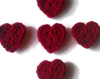 crochet heart applique,  valentines day decoration, embellishment, set of 1,3,5, or 10