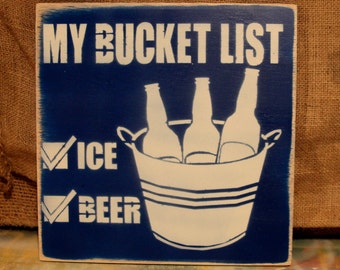 Hand painted - Bucket List - Wood Sign