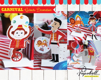Circus Decoration Printables for Circus Birthday Party. 6 pieces of Circus Decorations. Instant Download Carnival Decoration. DIY Printables