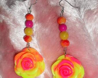 Neon Rose Earrings