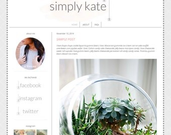 SALE Responsive Premade Blogger Template - Simply Kate - INSTANT DOWNLOAD