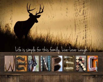 Deer Hunting Personalized Print Letter Art