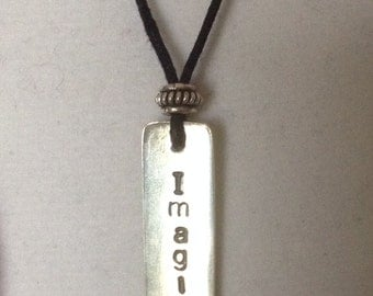 "Beatles Inspired Sterling Silver ""Imagine"" Necklace"