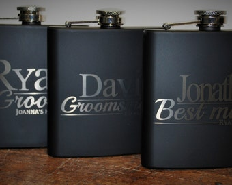 6 engraved Flasks, wedding party Groomsmen flask, Best man flask, Custom engraved 6oz flask., flask, personalized flask,