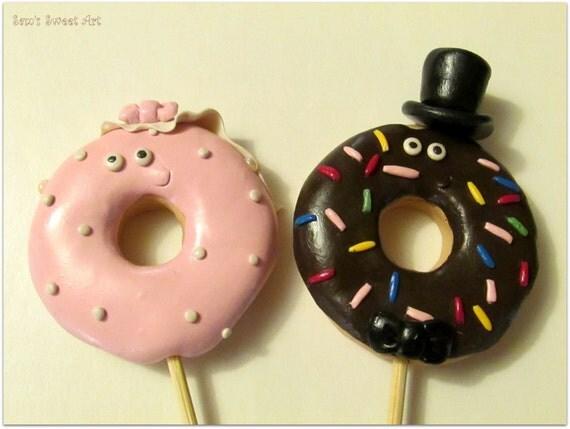 Donut Bride & Groom Wedding Cake Topper Donut Cake Topper