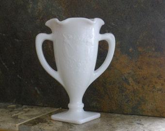Milk glass loving cup vase