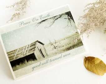 Christmas Card Set, Peace On Earth, fine art cards, wood shed, winter, snowy landscape, pale blue, brown, primitive, fine art photography
