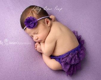 Baby Headband-Purple Flower Headband-Preemie Headband-Newborn Headband-Infant-Toddler-Wedding-Baptism Headband-Pretty-Flower Girl Headband