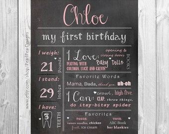 First Birthday Chalkboard Poster Sign: One Year Girl /Boy First Birthday Chalkboard Stat prop/decor - Monthly/ First year bday 16x20