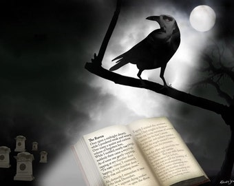 Scary Canvas mounted Art Print Edgar Allen Poe Moonlight Perspective NEVERMORE