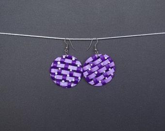Polymer clay earrings Woven earrings Spring earrings Purple earrings Round earrings Pastel earrings Dangle earrings Violet earrings Casual
