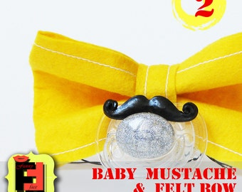 Mustache Pacifier - photo booth for baby- Baby Mustache - Baby bow