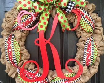 CHRISTMAS // LARGE burlap wreath // large monogram letter // Red // lime green // black // white