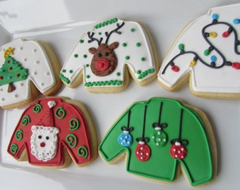 Ugly Sweater Cookies,  Christmas Cookies, Christmas Favors