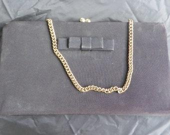 Vintage Black Crepe Evening Bag