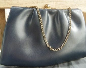 Vintage Navy Leather Handbag With Gold Chain Strap